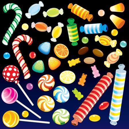 paletas de caramelo: Lote de distintos dulces de Candy Store - detallada de todos los elementos agrupados, separados