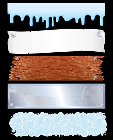 planche de bois: Assortiment de mod�le pour les banni�res-diverses surfaces : liquide, en bois, m�tal, papier...