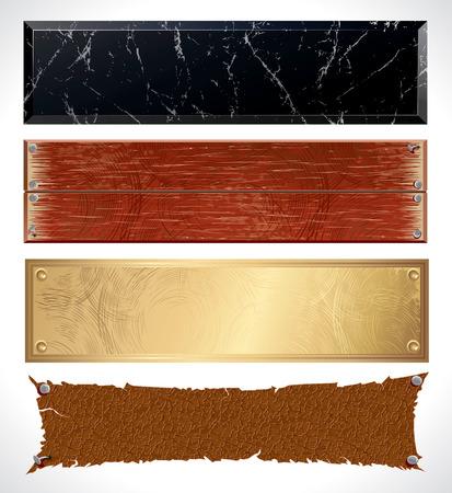 letreros: Diversos banners de web con textura - imitaci�n m�rmol, madera, metal, superficies de cuero  Vectores