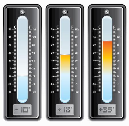 hot temperature: Term�metros con escala de grados Celsius y Fahrenheit. -elementos separados - f�ciles colores editables.  Vectores