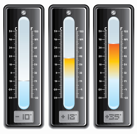 gauges: Thermometers with Celsius and Fahrenheit scale. -separated elements -easy editable colors.