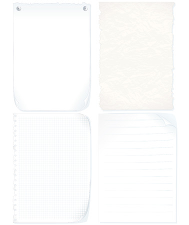 crumpled paper: Set of paper sheets-graph paper, old paper, notepad page, blank paper