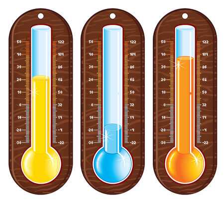 weather cartoon: Retro styled liquid thermometers