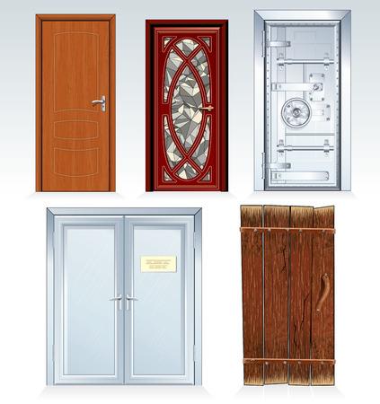 標準的なドア株式会社クラシック木製ドア、玄関のドア、銀行の金庫室、オフィスの二重ドア、高齢者の田園の納屋のドアのコレクションです。図では、使用される色だけです。
