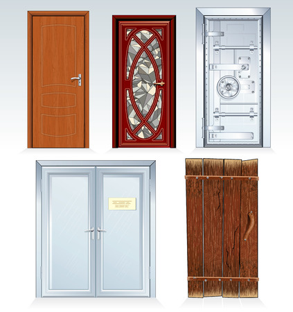 Collection of standard Doors -inc classic wooden door, front door, bank vault, office double door, aged rural barn door.   illustration, only simply colors used. Vector