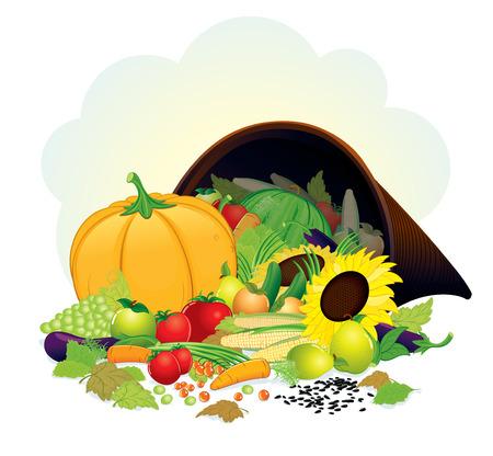 plenty: Autumn Cornucopia with fresh crop - Horn of Plenty illustration, grouped elements Illustration