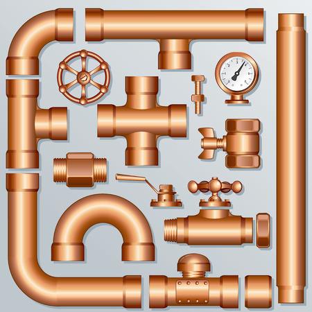cobre: Colecci�n de piezas de tuber�a de Brass detalladas, para crear su propia construcci�n dom�sticos, industriales o de cervecer�a - todos los elementos separados y agrupados