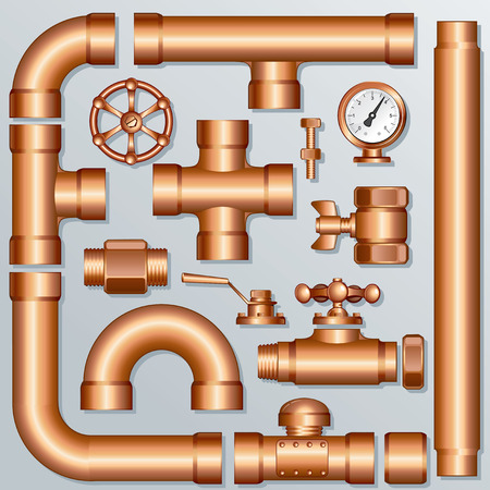 metal pipe: Collection of detailed Brass Pipeline pieces, for create your own domestic, industrial or brewery construction - all elements separated and grouped