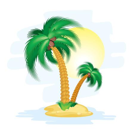 plantas del desierto: Ilustración de la isla de dibujos animados estilizada con palmas tropicales