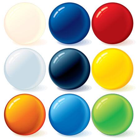 red sphere: Elementi di raccolta di palline colorati per il vostro disegno Vettoriali