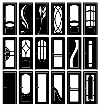 Collection of classic doors silhouettes interior series Vector