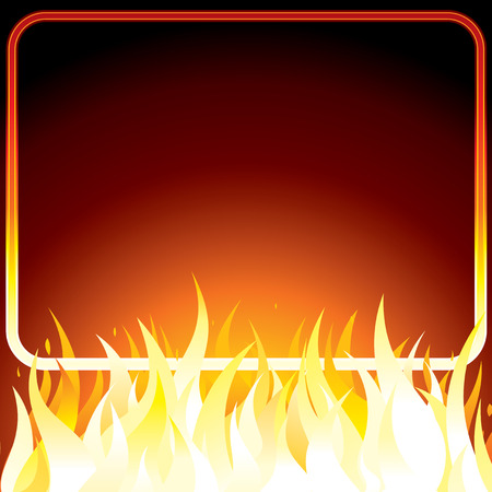 Fire poster with frame for your own text or design.  background. Vector