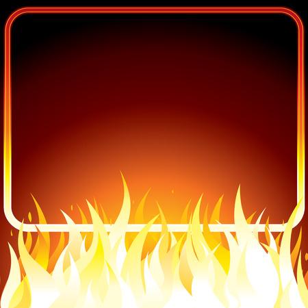 infierno: P�ster con marco para su propio texto o dise�o de incendios. Fondo.