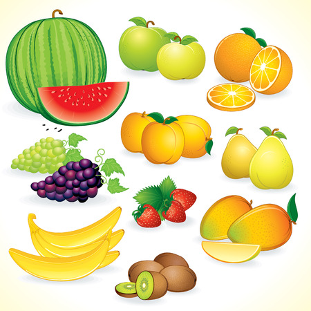 apple slice: Ripe Juicy Fruits Crop - set of detailed   illustrations  icons