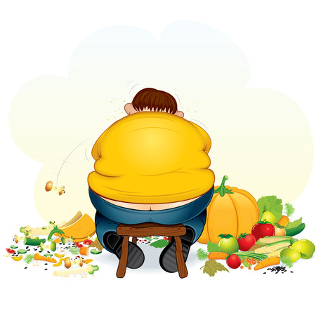 jokes: Fatty vegan man eating fruits and vegetable - illustration