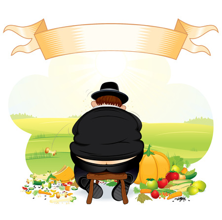 Greedy Pilgrim eating thanksgiving crop-all   elements grouped Vector