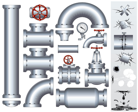 Set of industrial pipeline parts with set of various damaged elements.  gas or fuel pipe, faucet, valve, connector, shaft, wheel, fitting, gate, wheel etc...