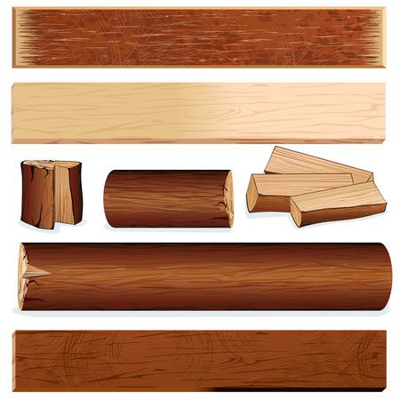 objetos de madera para el diseño, incluyen el registro, puntal, muñón, leña, placa de madera etc....