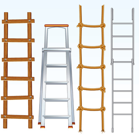 Illustration of various isolated ladders, stepladder