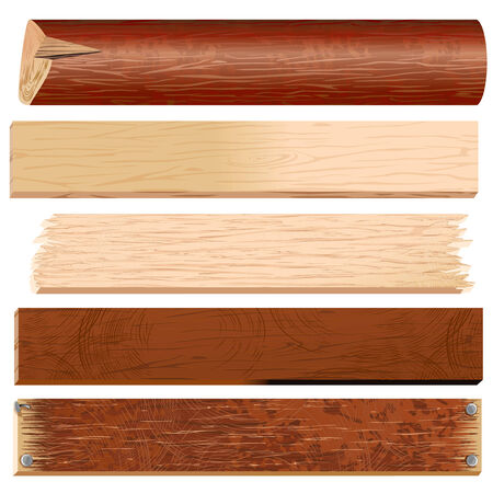 Wooden Planks, Boards, Logs, Panels  timber collection Vector