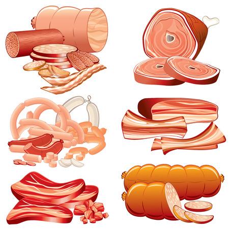 ham: Vlees en worstjes icon set-gedetailleerde illustratie, elementen van elkaar gescheiden en gegroepeerd