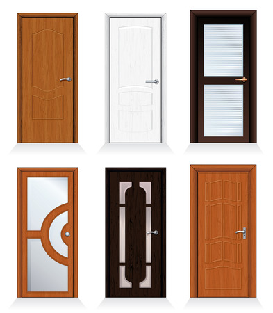 Classic interior and front wooden doors - detailed realistic  collection for your design. Vector