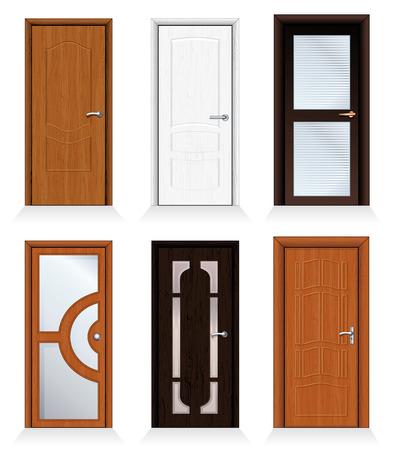 Interior clásico y puertas de madera frontales - detallada colección realista para su diseño.