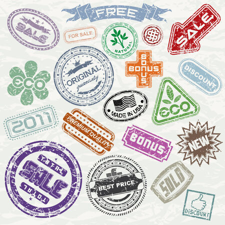 Abstract vintage sale stamp collection - ready for your original design project - elements isolated, only simply colors used Vector