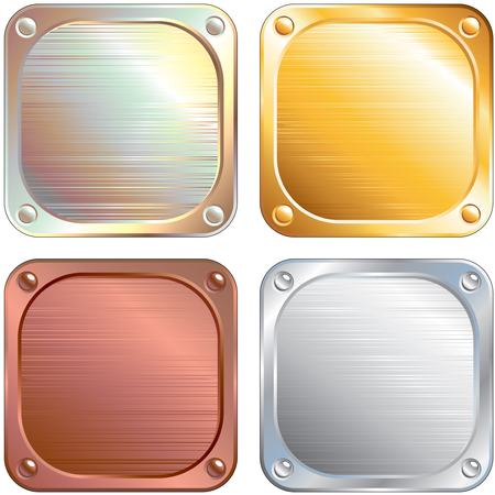 Set of Square Metallic Panels  illustration Vector