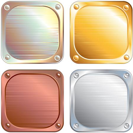 armor: Set of Square Metallic Panels  illustration