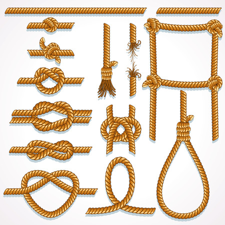 Rope design illustrations - knot, ladder, noose, loop, reef knot, eight knot, string and broken hawser.