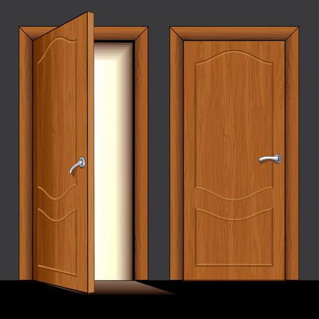 Illustratie van geopende en gesloten klassieke houten deur - alleen gewoon kleuren gebruikt