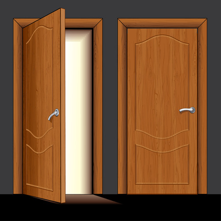 Illustration of opened and closed classic wooden door - only simply colors used