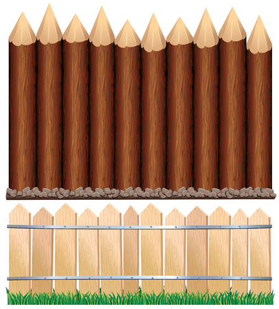 grouped: Illustration of rural wooden fence and log paling - all wood elements separated and grouped Illustration