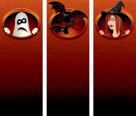 Halloween vertical banners with cartoon illustrations for your text or greeting Vector