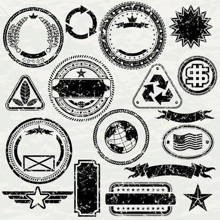 Elementos - sucio vector de objetos separados y agrupados de diseño de sellos de grunge