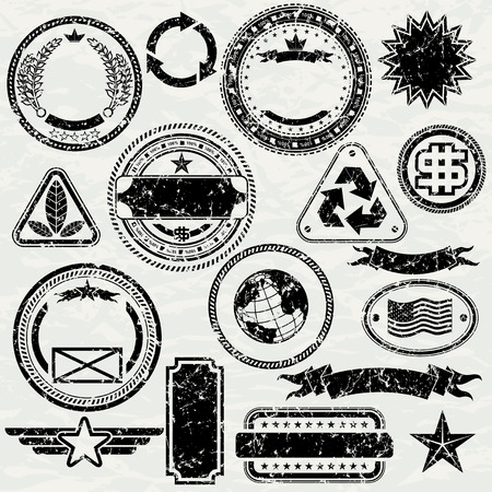 grouped: Grunge stamps design elements - vector dirty objects separated and grouped