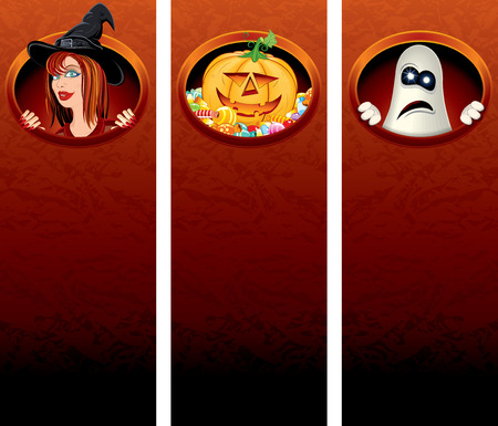 Colorful Halloween banner templates with illustrations and space for your text - To see more, please visit my gallery Vector