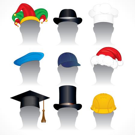 giullare: Cappelli ClipArt-raccolta di illustrazioni vettoriali dettagliate dei vari cappelli e Caps Vettoriali