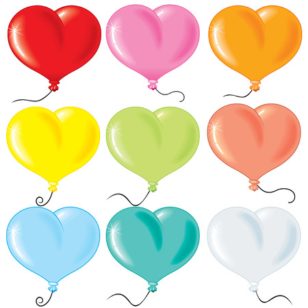 red balloons: Inflated Heart-shaped balloons collection