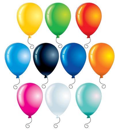 globos de fiesta: Ilustraci�n de vectores de globos aislados en blanco - de color  Vectores