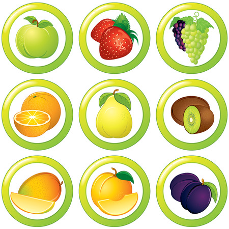 plum: Fruits icons, labels or stickers - colorful vector collection