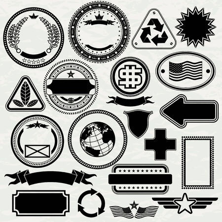 oval shape: Blank Stamps templates for your design, vector elements separated