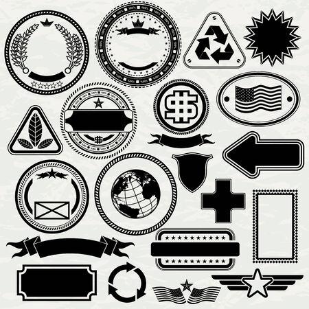 En blanco de plantillas de sellos para el diseño, elementos vectoriales separados