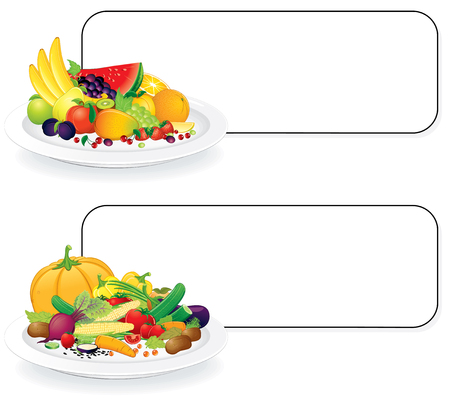 mangoes: Fruits and Vegetable plates with sign for your text - all elements separated