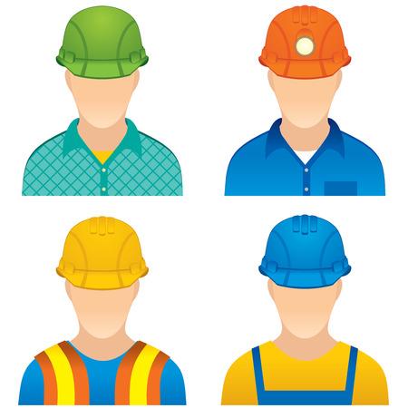 様々 な労働者のアイコン - など在宅勤務者、道路ビルダー、建設労働者と鉱夫のダミー