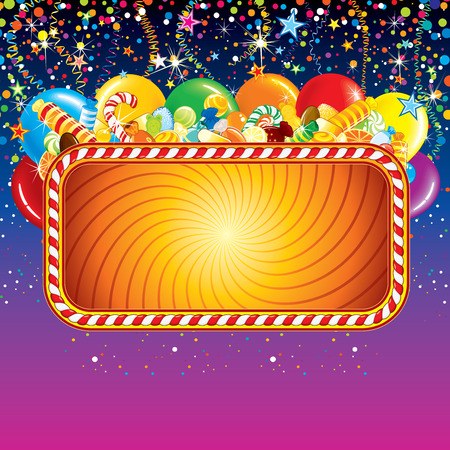happy feast: Festive billboard background with balloons, confetti and over birthday decoration. Ready for celebrating and greeting text or design. Illustration