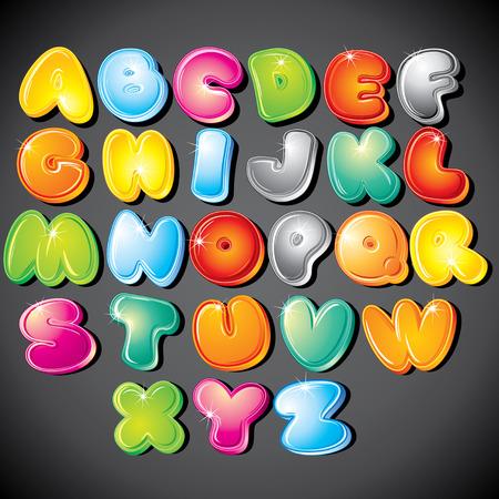 czcionki: Radosny Cartoon czcionki typu - litery od a do Z, obiektów clipart