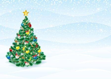 詳細なクリスマス ツリーとクリスマスの背景