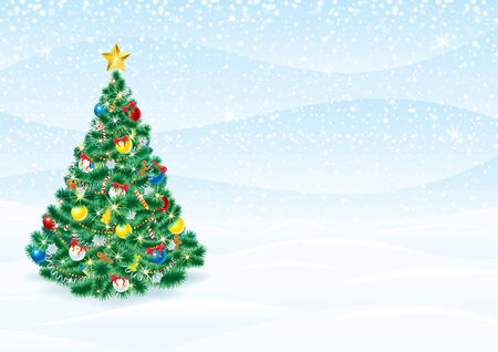Christmas Background with detailed Christmas Tree   Vector